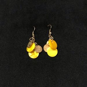 Modern Gold Yellow Mother of Pearl Dangle Earrings